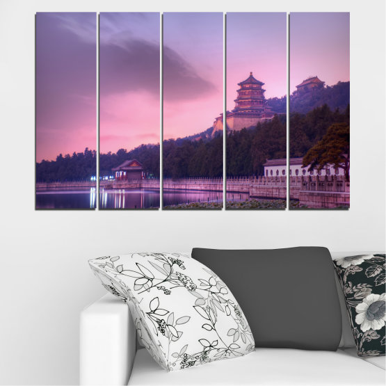 Canvas prints & wall decorative panels - 5 pieces №0571 » Purple, Gray, Milky pink, Dark grey » Water, Landscape, Thailand, Buddha, Temple Form #2