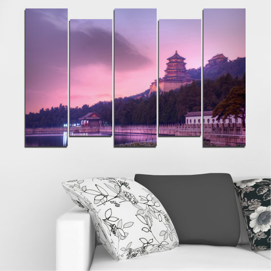 Canvas prints & wall decorative panels - 5 pieces №0571 » Purple, Gray, Milky pink, Dark grey » Water, Landscape, Thailand, Buddha, Temple Form #3