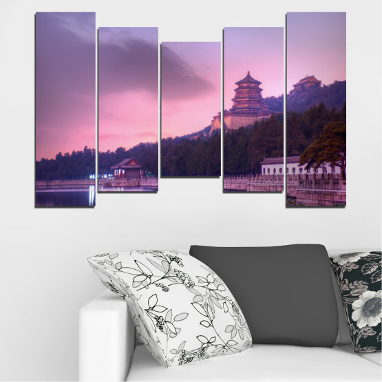 Canvas prints & wall decorative panels - 5 pieces №0571 » Purple, Gray, Milky pink, Dark grey » Water, Landscape, Thailand, Buddha, Temple Form #4