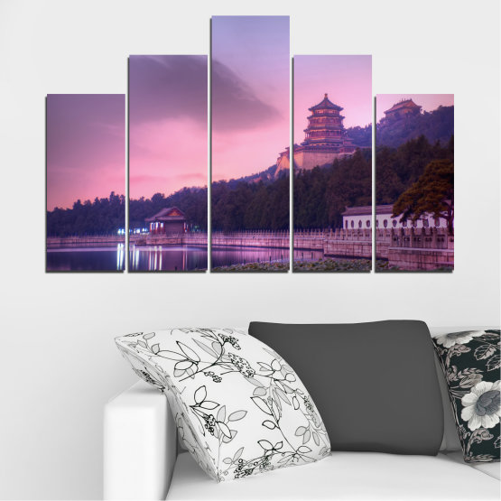 Canvas prints & wall decorative panels - 5 pieces №0571 » Purple, Gray, Milky pink, Dark grey » Water, Landscape, Thailand, Buddha, Temple Form #5