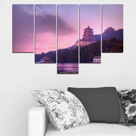Canvas prints & wall decorative panels - 5 pieces №0571 » Purple, Gray, Milky pink, Dark grey » Water, Landscape, Thailand, Buddha, Temple Form #6