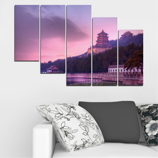 Canvas prints & wall decorative panels - 5 pieces №0571 » Purple, Gray, Milky pink, Dark grey » Water, Landscape, Thailand, Buddha, Temple Form #7