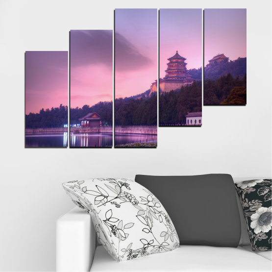 Canvas prints & wall decorative panels - 5 pieces №0571 » Purple, Gray, Milky pink, Dark grey » Water, Landscape, Thailand, Buddha, Temple Form #8