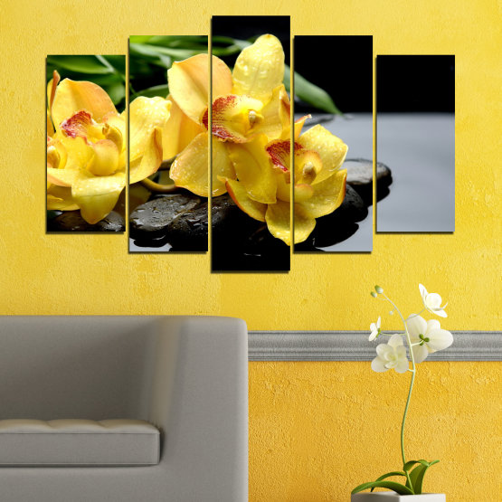 Canvas prints & wall decorative panels - 5 pieces №0572 » Green, Yellow, Black, Gray » Flowers, Orchid, Water, Stones, Zen, Spa Form #1