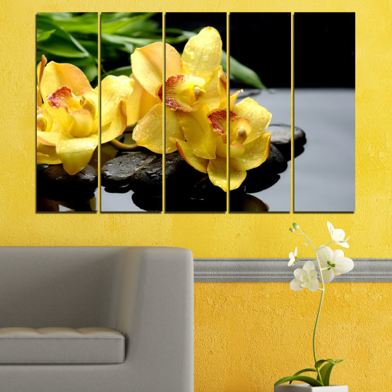 Canvas prints & wall decorative panels - 5 pieces №0572 » Green, Yellow, Black, Gray » Flowers, Orchid, Water, Stones, Zen, Spa Form #2