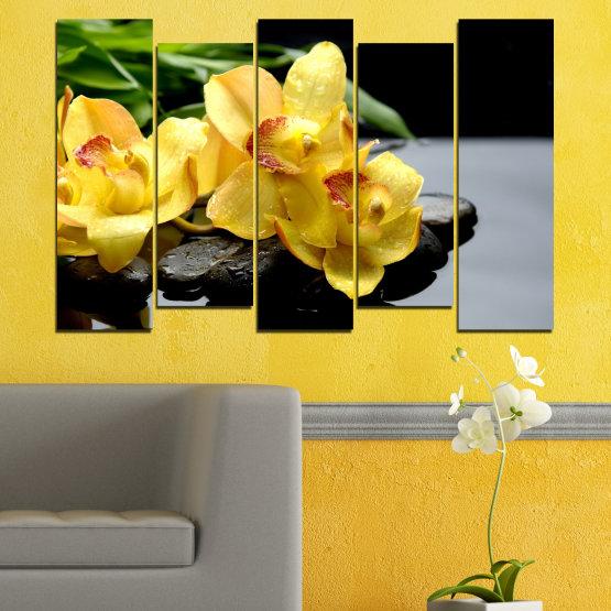 Canvas prints & wall decorative panels - 5 pieces №0572 » Green, Yellow, Black, Gray » Flowers, Orchid, Water, Stones, Zen, Spa Form #3