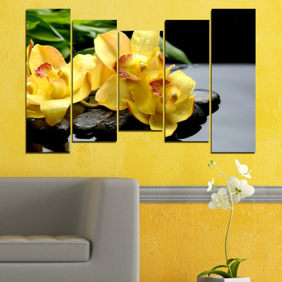 Canvas prints & wall decorative panels - 5 pieces №0572 » Green, Yellow, Black, Gray » Flowers, Orchid, Water, Stones, Zen, Spa Form #4