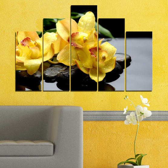 Canvas prints & wall decorative panels - 5 pieces №0572 » Green, Yellow, Black, Gray » Flowers, Orchid, Water, Stones, Zen, Spa Form #5