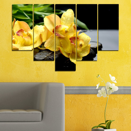 Canvas prints & wall decorative panels - 5 pieces №0572 » Green, Yellow, Black, Gray » Flowers, Orchid, Water, Stones, Zen, Spa Form #6