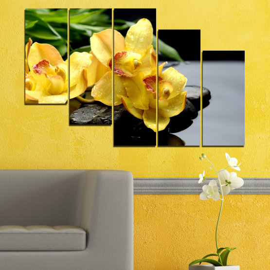 Canvas prints & wall decorative panels - 5 pieces №0572 » Green, Yellow, Black, Gray » Flowers, Orchid, Water, Stones, Zen, Spa Form #7