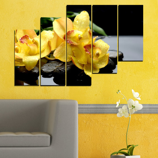Canvas prints & wall decorative panels - 5 pieces №0572 » Green, Yellow, Black, Gray » Flowers, Orchid, Water, Stones, Zen, Spa Form #8