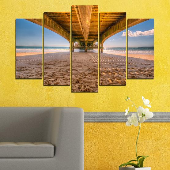 Декоративни панели и картини от канава - от 5 части №0573 » Оранжев, Кафяв, Сив, Бежов » Вода, Плаж, Пясък, Мост Form #1