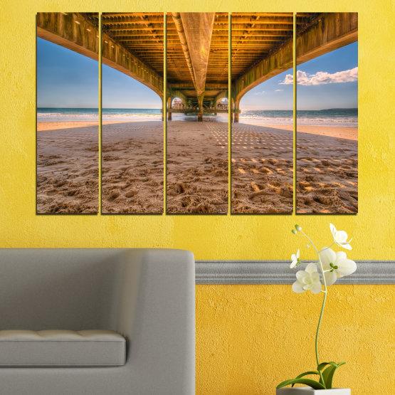 Canvas prints & wall decorative panels - 5 pieces №0573 » Orange, Brown, Gray, Beige » Water, Beach, Sand, Bridge Form #2