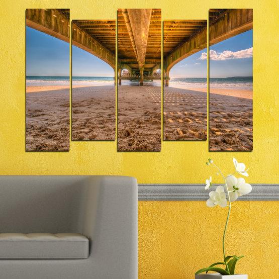 Canvas prints & wall decorative panels - 5 pieces №0573 » Orange, Brown, Gray, Beige » Water, Beach, Sand, Bridge Form #3