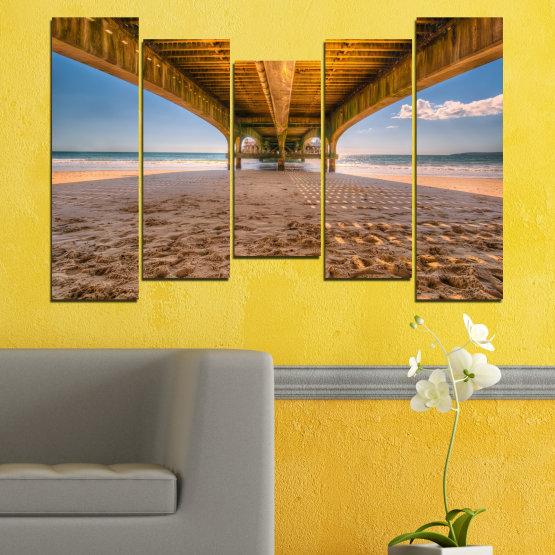 Canvas prints & wall decorative panels - 5 pieces №0573 » Orange, Brown, Gray, Beige » Water, Beach, Sand, Bridge Form #4