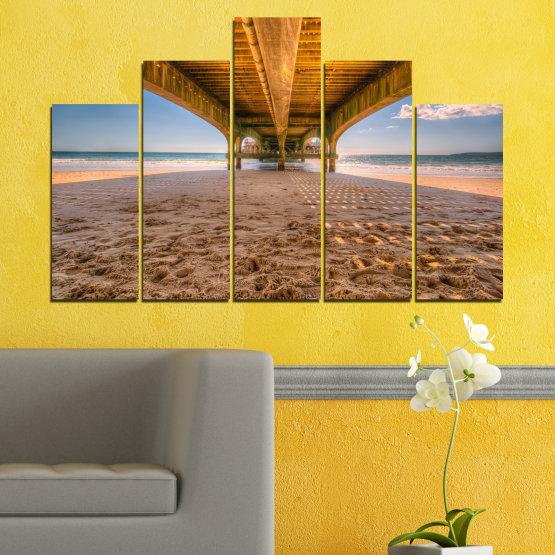Canvas prints & wall decorative panels - 5 pieces №0573 » Orange, Brown, Gray, Beige » Water, Beach, Sand, Bridge Form #5