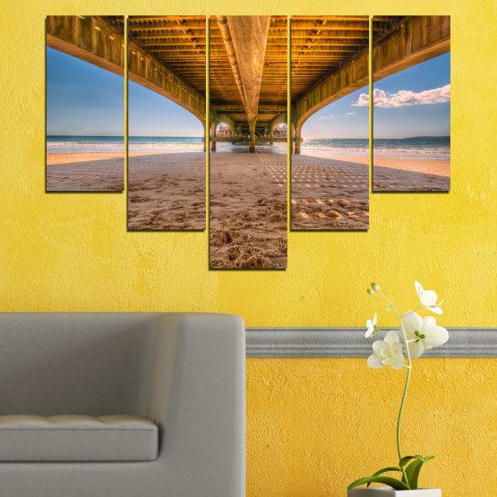 Canvas prints & wall decorative panels - 5 pieces №0573 » Orange, Brown, Gray, Beige » Water, Beach, Sand, Bridge Form #6