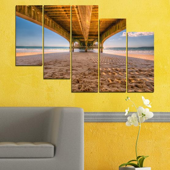 Декоративни панели и картини от канава - от 5 части №0573 » Оранжев, Кафяв, Сив, Бежов » Вода, Плаж, Пясък, Мост Form #7