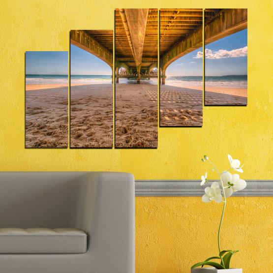 Canvas prints & wall decorative panels - 5 pieces №0573 » Orange, Brown, Gray, Beige » Water, Beach, Sand, Bridge Form #8
