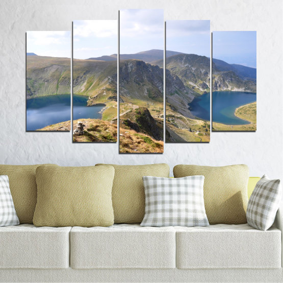 Canvas prints & wall decorative panels - 5 pieces №0574 » Brown, Gray, White, Dark grey » Nature, Landscape, Water, Bulgaria, Mountain Form #1