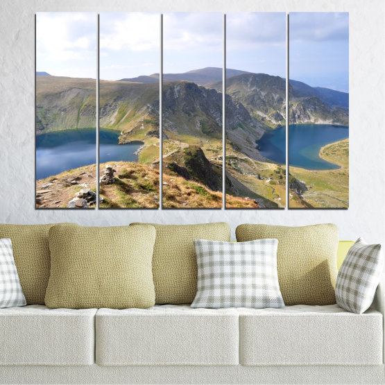 Canvas prints & wall decorative panels - 5 pieces №0574 » Brown, Gray, White, Dark grey » Nature, Landscape, Water, Bulgaria, Mountain Form #2