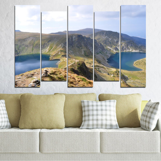 Canvas prints & wall decorative panels - 5 pieces №0574 » Brown, Gray, White, Dark grey » Nature, Landscape, Water, Mountain, Bulgaria Form #3