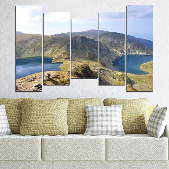 Canvas prints & wall decorative panels - 5 pieces №0574 » Brown, Gray, White, Dark grey » Nature, Landscape, Water, Mountain, Bulgaria Form #4