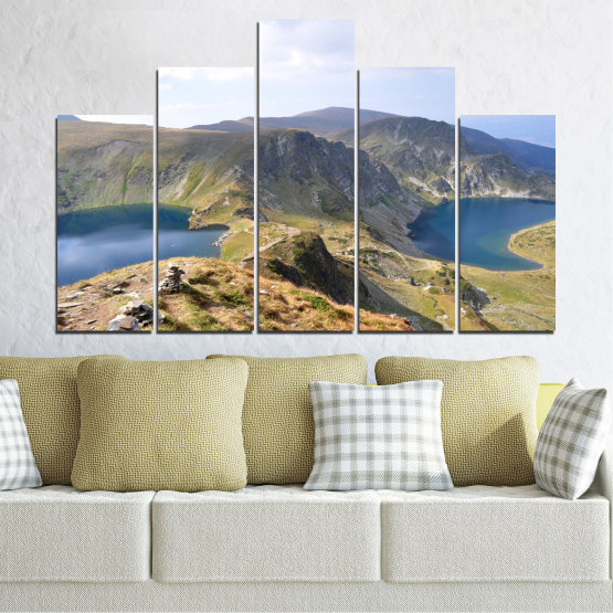 Canvas prints & wall decorative panels - 5 pieces №0574 » Brown, Gray, White, Dark grey » Nature, Landscape, Water, Mountain, Bulgaria Form #5