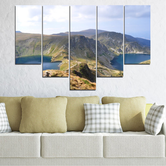 Canvas prints & wall decorative panels - 5 pieces №0574 » Brown, Gray, White, Dark grey » Nature, Landscape, Water, Mountain, Bulgaria Form #6