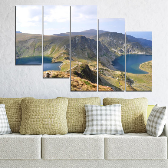 Canvas prints & wall decorative panels - 5 pieces №0574 » Brown, Gray, White, Dark grey » Nature, Landscape, Water, Mountain, Bulgaria Form #7