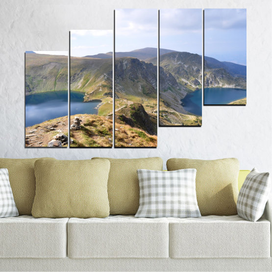 Canvas prints & wall decorative panels - 5 pieces №0574 » Brown, Gray, White, Dark grey » Nature, Landscape, Water, Mountain, Bulgaria Form #8