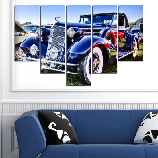 Canvas prints & wall decorative panels - 5 pieces №0575 » Turquoise, Black, Gray, White, Dark grey » Retro, Car, Vehicle Form #6