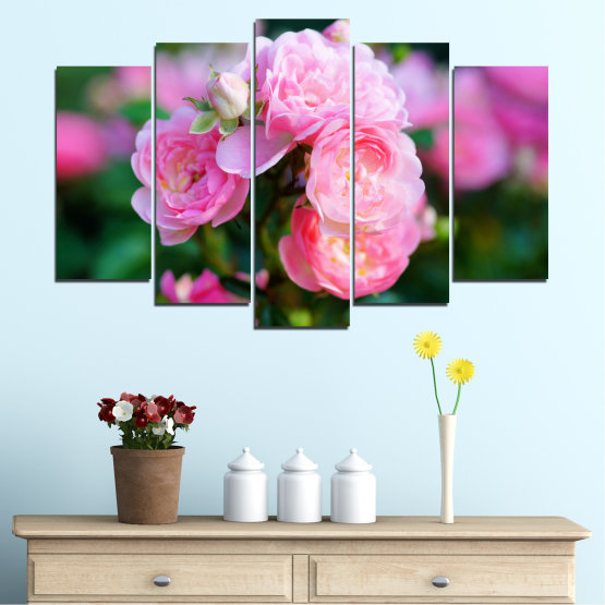 Canvas prints & wall decorative panels - 5 pieces №0576 » Pink, Green, Black, Milky pink, Dark grey » Flowers, Garden, Rose Form #1