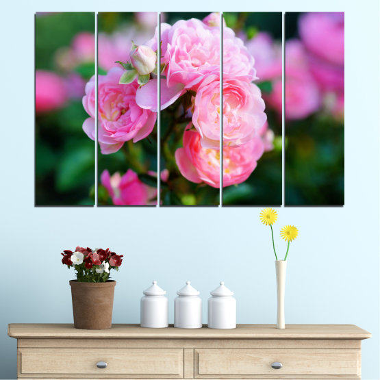 Canvas prints & wall decorative panels - 5 pieces №0576 » Pink, Green, Black, Milky pink, Dark grey » Flowers, Garden, Rose Form #2