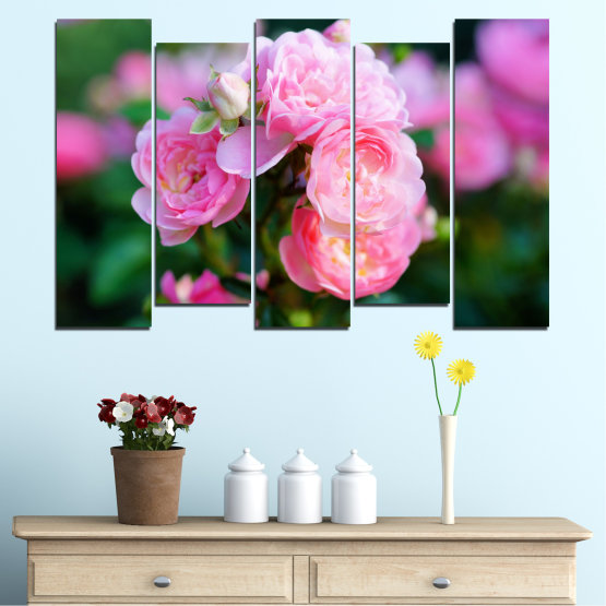 Canvas prints & wall decorative panels - 5 pieces №0576 » Pink, Green, Black, Milky pink, Dark grey » Flowers, Garden, Rose Form #3
