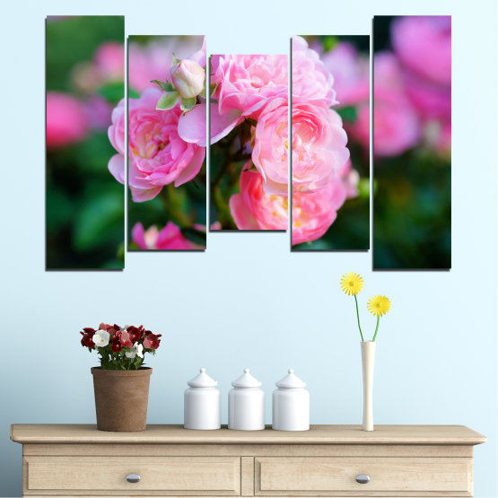 Canvas prints & wall decorative panels - 5 pieces №0576 » Pink, Green, Black, Milky pink, Dark grey » Flowers, Garden, Rose Form #4