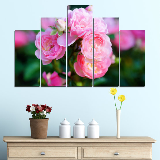 Canvas prints & wall decorative panels - 5 pieces №0576 » Pink, Green, Black, Milky pink, Dark grey » Flowers, Garden, Rose Form #5