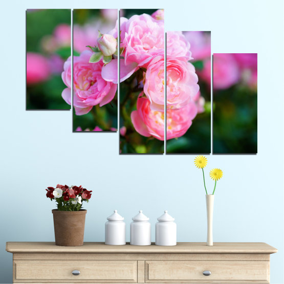Canvas prints & wall decorative panels - 5 pieces №0576 » Pink, Green, Black, Milky pink, Dark grey » Flowers, Garden, Rose Form #7