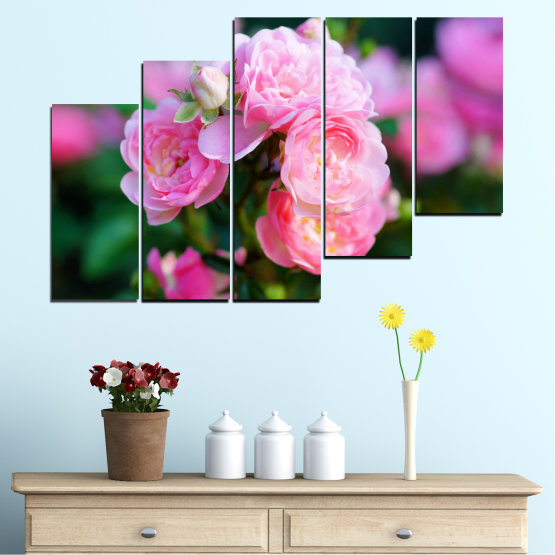 Canvas prints & wall decorative panels - 5 pieces №0576 » Pink, Green, Black, Milky pink, Dark grey » Flowers, Garden, Rose Form #8