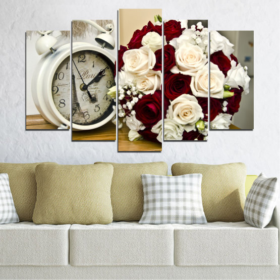 Canvas prints & wall decorative panels - 5 pieces №0577 » Brown, Gray, White, Beige » Flowers, Rose, Bouquet, Paris, Watch Form #1