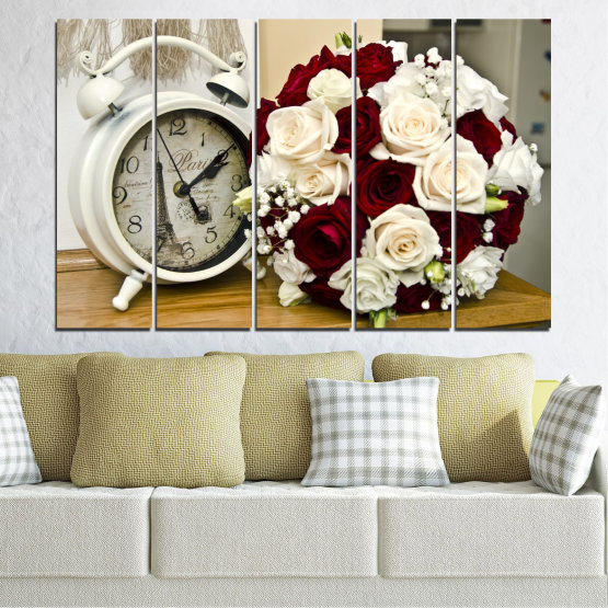 Canvas prints & wall decorative panels - 5 pieces №0577 » Brown, Gray, White, Beige » Flowers, Rose, Bouquet, Paris, Watch Form #2