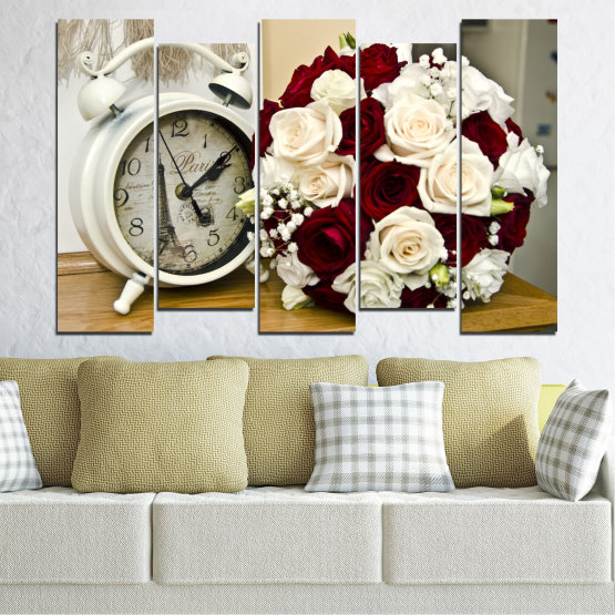Canvas prints & wall decorative panels - 5 pieces №0577 » Brown, Gray, White, Beige » Flowers, Rose, Bouquet, Paris, Watch Form #3