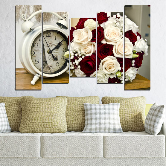 Canvas prints & wall decorative panels - 5 pieces №0577 » Brown, Gray, White, Beige » Flowers, Rose, Bouquet, Paris, Watch Form #4