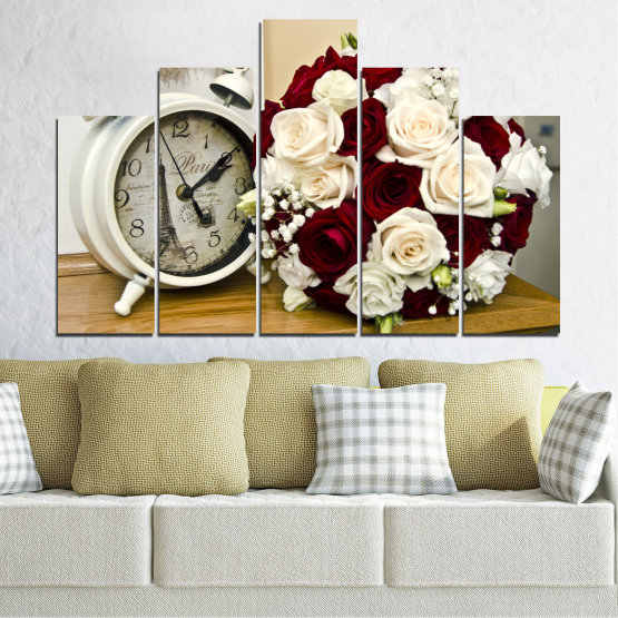 Canvas prints & wall decorative panels - 5 pieces №0577 » Brown, Gray, White, Beige » Flowers, Rose, Bouquet, Paris, Watch Form #5