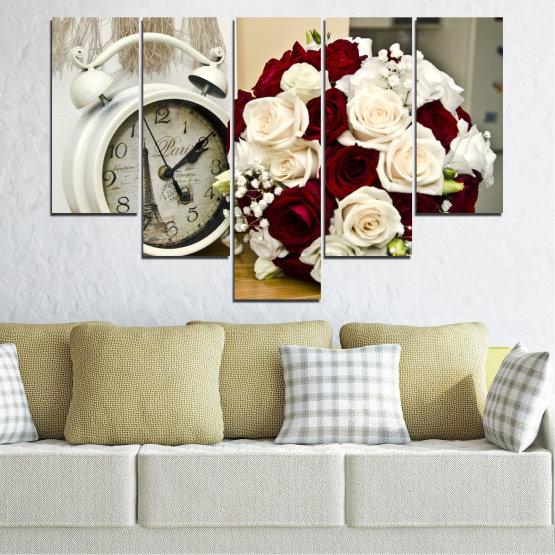 Canvas prints & wall decorative panels - 5 pieces №0577 » Brown, Gray, White, Beige » Flowers, Rose, Bouquet, Paris, Watch Form #6