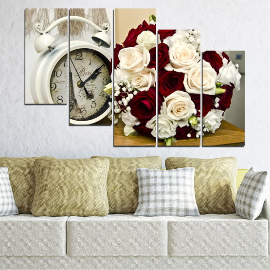 Canvas prints & wall decorative panels - 5 pieces №0577 » Brown, Gray, White, Beige » Flowers, Rose, Bouquet, Paris, Watch Form #7
