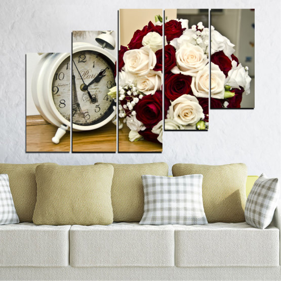 Canvas prints & wall decorative panels - 5 pieces №0577 » Brown, Gray, White, Beige » Flowers, Rose, Bouquet, Paris, Watch Form #8