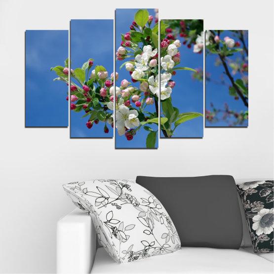 Декоративни панели и картини от канава - от 5 части №0578 » Син, Тюркоаз, Сив, Тъмно сив » Цветя, Природа, Пролет, Дърво Form #1