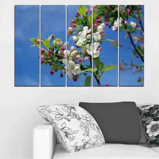 Декоративни панели и картини от канава - от 5 части №0578 » Син, Тюркоаз, Сив, Тъмно сив » Цветя, Природа, Пролет, Дърво Form #2