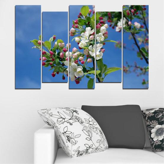 Декоративни панели и картини от канава - от 5 части №0578 » Син, Тюркоаз, Сив, Тъмно сив » Цветя, Природа, Пролет, Дърво Form #3